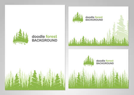 Illustration for Vector illustration: Three variants of layout design with background of doodle forest. - Royalty Free Image