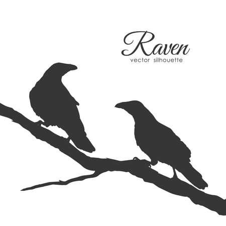 Illustration pour Vector illustration: Silhouette of ravens Couple on dry branch. - image libre de droit