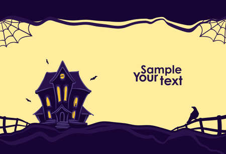Illustration pour Vector illustration: Halloween background with hand drawn Haunted house and silhouette of raven on the fence. - image libre de droit