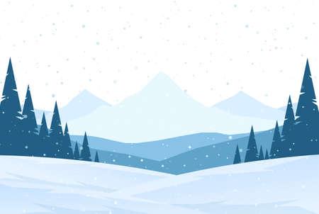 Illustration pour Winter snowy Mountains landscape with hills and pines. - image libre de droit