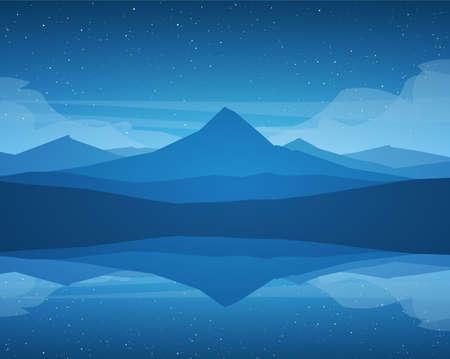 Illustration pour Vector Night Mountains Lake landscape, stars and reflection. - image libre de droit