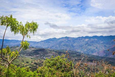 Beautiful view of rural landscape. costa rica under cloudy sky.