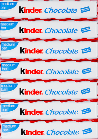 LONDON, UK - November 17, 2017: Kinder chocolate bars on white background.Kinder bars are produced by Ferrero founded in 1946.