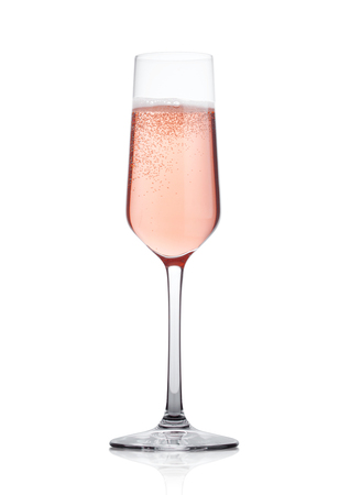Photo pour Rose pink champagne glass with bubbles isolated on white background - image libre de droit