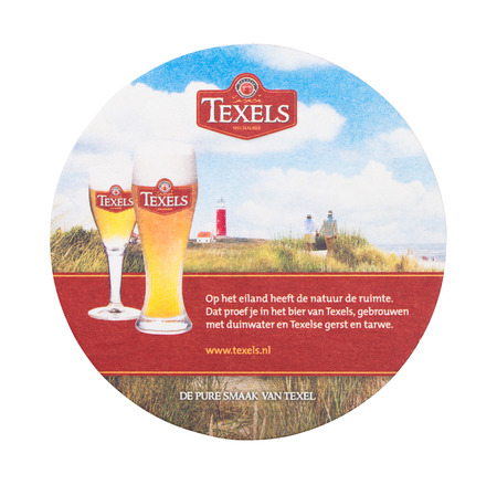 LONDON, UK - AUGUST 22, 2018: Texels paper beer beermat coaster isolated on white background.
