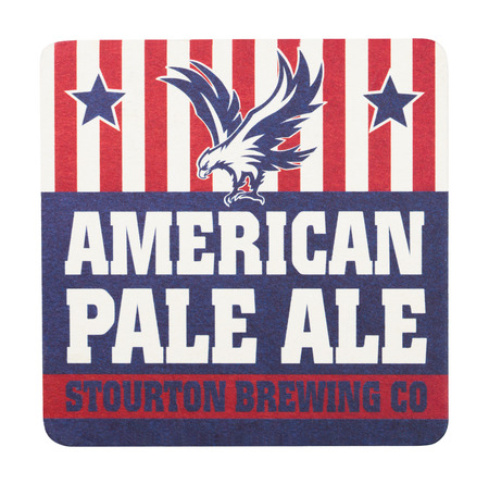LONDON, UK - AUGUST 22, 2018: American Pale Ale paper beer beermat coaster isolated on white background.