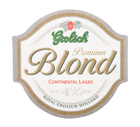 LONDON, UK - AUGUST 22, 2018: Grolsch Blond beer beermat coaster isolated on white background.