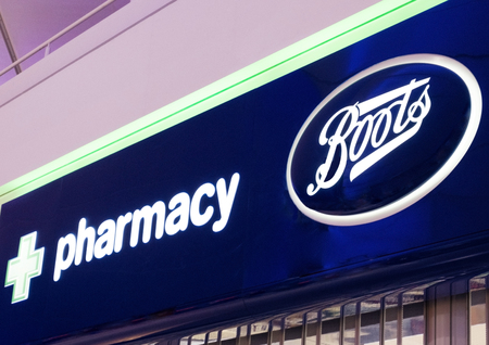 LONDON, UK - AUGUST 31, 2018: Boots and Pharmacy display in shopping centre store.