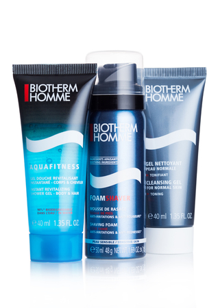 LONDON, UK - SEPTEMBER 04, 2018: Biotherm Homme travel products on white background. Skincare products for men.