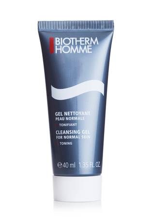 LONDON, UK - SEPTEMBER 04, 2018: Biotherm Homme cleansing gel on white background. Skincare products for men.