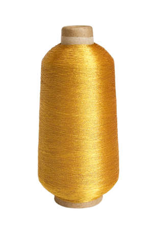 The big coil of brilliant gold threads on a white background