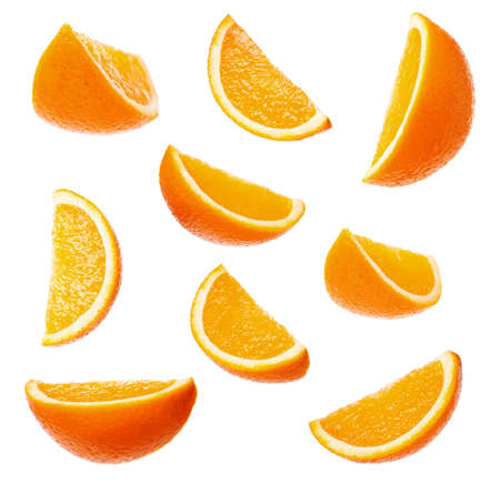 Collection perfect orange slices isolated on white background