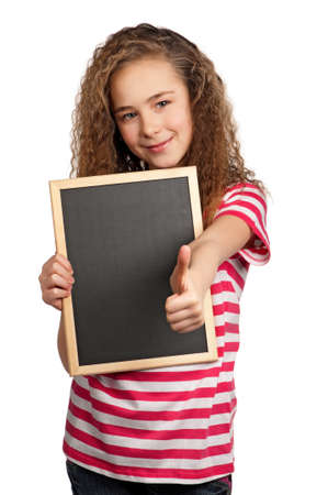 Portrait of girl with blackboard isolated on white background