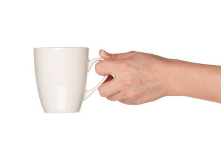Woman hand with perfect white cup isolated on white background