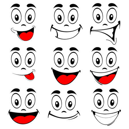 Illustration pour Vector illustration of a set smiling cartoon faces - happy eyes and mouth on white - image libre de droit