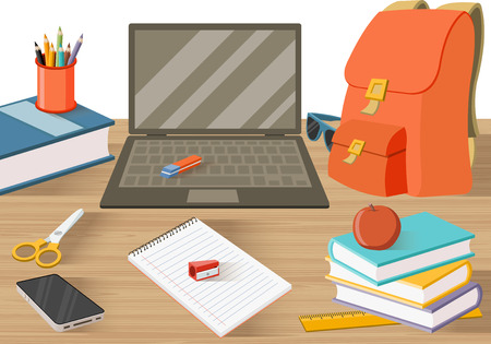 Illustration pour Student table with books and other objects. - image libre de droit