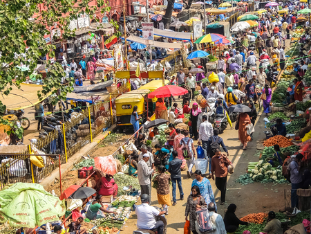 Bangalore, India - Circa January, 2018. Street vegetable market in Bangalore.