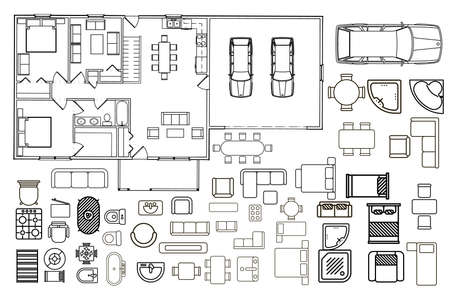 Illustration pour Floorplan with isolated furniture elements in top view - image libre de droit