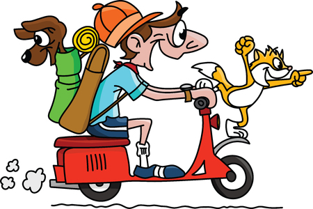 Illustration for Cartoon man traveling on a motorcycle with his dog and cat vector illustration - Royalty Free Image