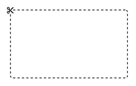 Illustration pour Coupon rectangle vector template. Dashed line with black scissors on white background - image libre de droit