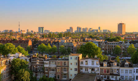 Beautiful cityscape looking over the city of Amsterdam in the Netherlands