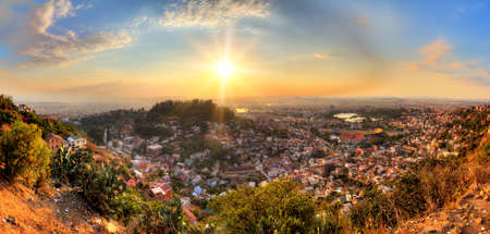 Beautiful HDR cityscape panorama of Antananarivo Madagascar at sunset