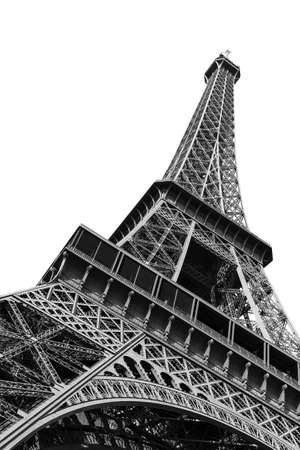 Photo pour Beautiful view of the Eiffel tower seen from beneath in Paris, isolated in black and white - image libre de droit