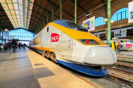 TGV at station Gare du Nord in Paris, France, on April 15, 2014