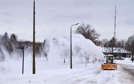 MONTREAL, CANADA - FEBRUARY, 2016 - Snowblower track cleaning a road near Montr Royal park, Montreal.