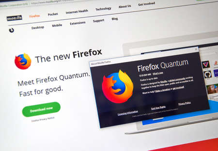 MONTREAL, CANADA - NOVEMBER 14, 2017: Firefox Quantum web page. Firefox Quantum is a version of Mozilla's internet browser, said to be significantly faster and more efficient than its competitors.