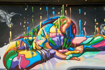 MIAMI, USA - AUGUST 22, 2018: Wynwood Walls Miami graffiti. Artist: Dasic Fernandez. Wynwood is a neighborhood in Miami, Florida known for its graffiti and street art.