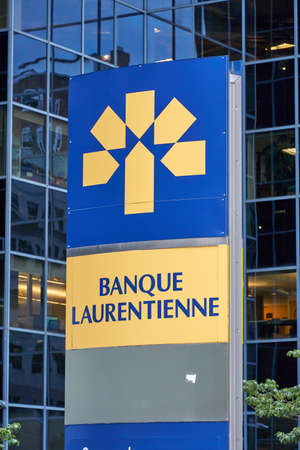 MONTREAL, CANADA - OCTOBER 4, 2018: Banque Laurentienne logo and building. The Laurentian Bank is a financial institution founded in 1846, it operates throughout Canada.
