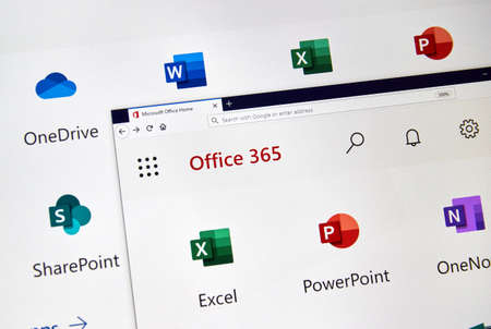 Foto für MONTREAL, CANADA - FEBRUARY 28, 2019: Microsofrt Office 365 new icons on a PC screen. Office 365 is the brand name Microsoft uses for a group of subscriptions that provide productivity software - Lizenzfreies Bild
