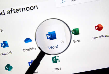 Foto de MONTREAL, CANADA - FEBRUARY 28, 2019: Microsoft Word new icon. Office 365 is the brand name Microsoft uses for a group of subscriptions that provide productivity software and related services. - Imagen libre de derechos