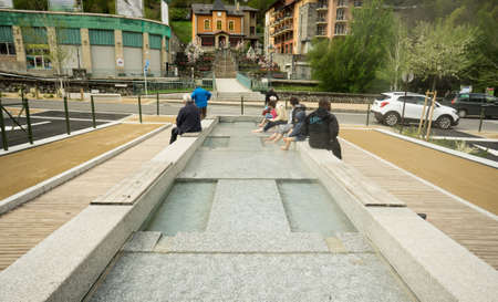People relaxing Their feet at Ax-Les-Thermes thermal water spa