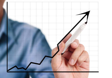 Man hand drawing a chart isolated show