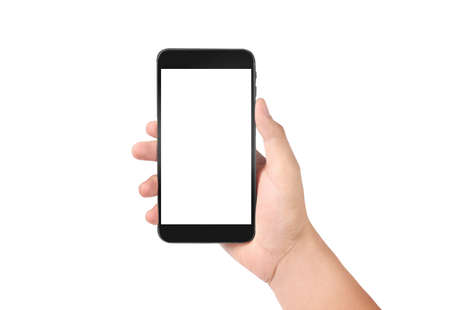 Photo pour Man hand holding smartphone device and touching screen - image libre de droit