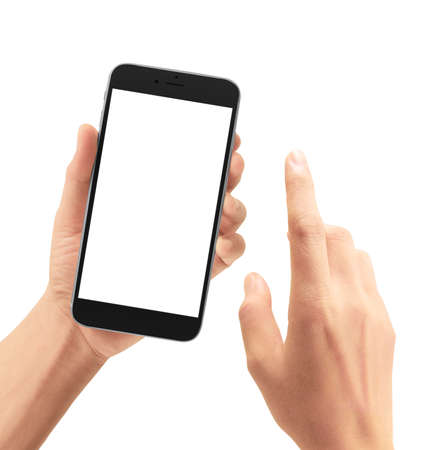 Photo pour Hand holding smartphone device and touching screen - image libre de droit