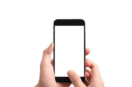 Photo pour Hold mobile phones, smartphone in hand devices and touch screen technology - image libre de droit