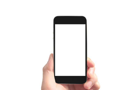 Photo for Hold mobile phones, smartphone in hand devices and touch screen technology - Royalty Free Image
