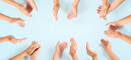 Photo pour Group of hands applauding up Top view. isolated with clipping path - image libre de droit