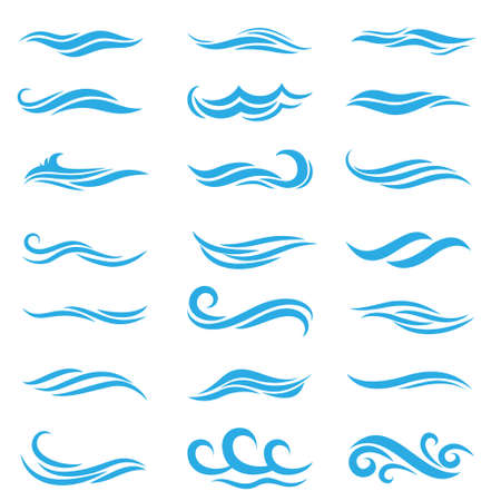 Illustration pour Silhouette of stylized vector blue waves isolate on white. Wave ocean and water curve splash and ripple illustration. - image libre de droit