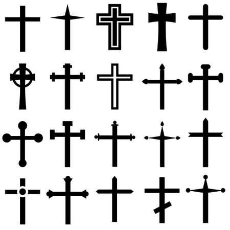 Illustration pour Christian cross vector icons cet. Christian cross icon illustration. Christian cross symbol collection. - image libre de droit