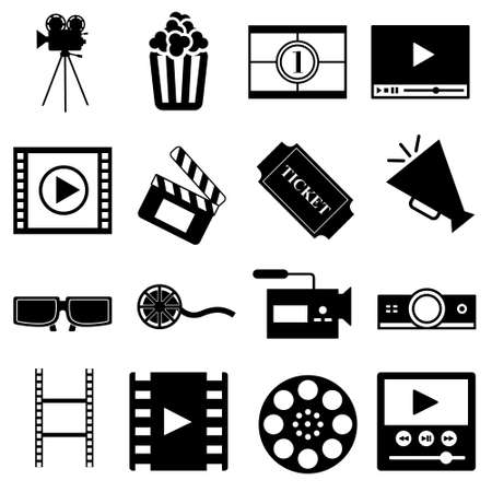 Illustration for Cinema vector icon set. movie illustration symbol collection. movie house sign or logo. - Royalty Free Image