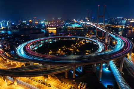 Foto de Modern city traffic road. Transport road junction on the bridge. - Imagen libre de derechos