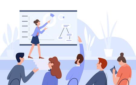 Illustration pour Business meeting conference people flat vector illustration - image libre de droit
