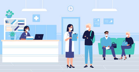 Illustration pour People wait in hospital hall interior vector illustration. Cartoon flat patient woman man characters in masks sitting in doctor reception room, waiting for doctoral exam. Medical healthcare background - image libre de droit