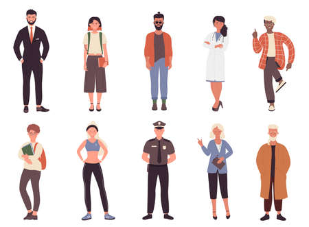 Illustration pour Different job or hobby people vector illustration set. Cartoon flat collection with man woman worker group of characters in uniform, businessman policeman doctor fitness trainer isolated on white - image libre de droit