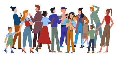 Illustration for People walk in crowd vector illustration. Cartoon different ages and multiethnic diverse crowd group of man and woman characters in casual clothes walking, holding smartphone isolated on white - Royalty Free Image