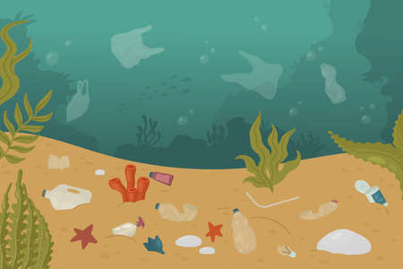Illustration for Polluted undersea underwater ocean sea dirty landscape, marine pollution ecology problem vector illustration. Cartoon plastic bottle, tin and bag trash garbage damage water environment background - Royalty Free Image